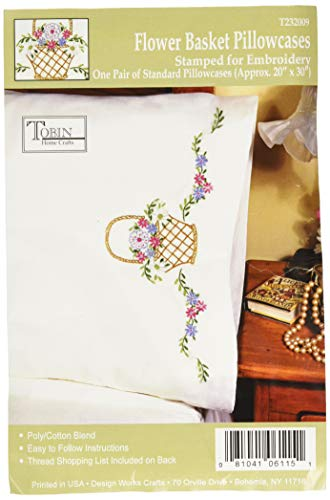 Tobin Stamped Pillowcase Pair for Embroidery, 20 by 30-Inch, Flower Basket (Basket Stitch Cross)