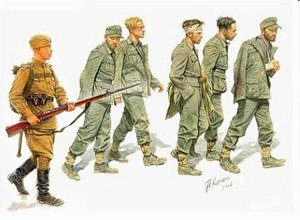 Master Box German Captives 1944 (5 and 1 Russian Soldier) Figure Model Building Kits (1:35 (Soldier Model)
