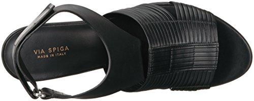 Absatzsandale Justine2 Via mit Absatz Spiga Leder aus Damen gewebtem schwarzem AtZOZq