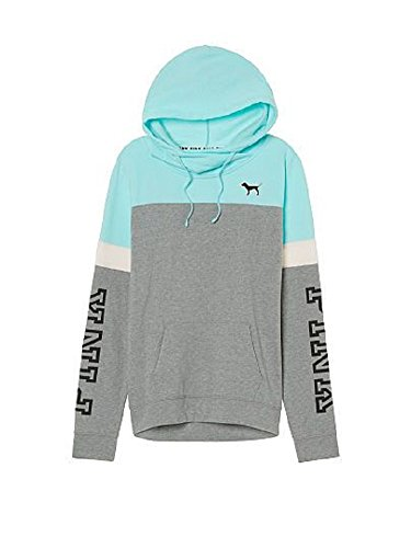 7eb099b19a938 VS Pink Victoria s Secret Pink Colorblock Crossneck Pullover Hoodie  Aqua Gray (X-Small