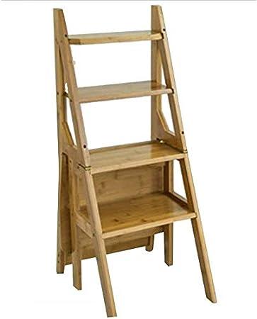 HOMRanger Escalera Taburete Multifunción Hogar Bambú Plegable Doble Uso Placa Gruesa Escalada Simple, Escalera de 4 escalones, 3 Colores de Doble Uso (Color: Color Nogal, tamaño: 40x41x90cm): Amazon.es: Hogar