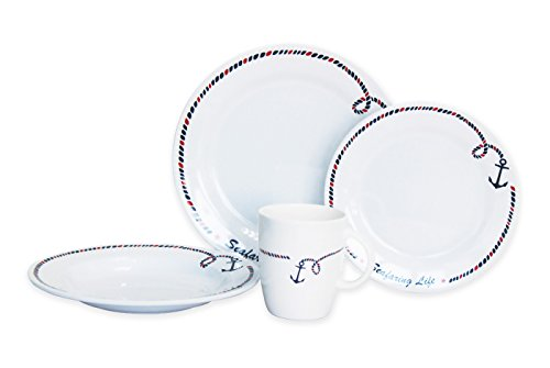 Norestar Non-Skid 16-Piece Melamine Dishware Set for Boat/RV: Bowls, Plates, Mugs. Ideal as Gift (Anchor Collection) (Non Skid Dinnerware)