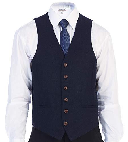 Gioberti Men's 6 Button Slim Fit Formal Herringbone Tweed Vest, Herringbone Navy, Large