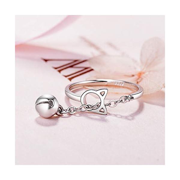Esberry – Anello placcato in oro 14 carati con gatto e campanello, con apertura dolce e alla moda, per ragazze e donne