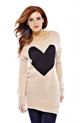 AX Paris Womens Giant Heart Knit Pink Sweater(Pink SizeML)
