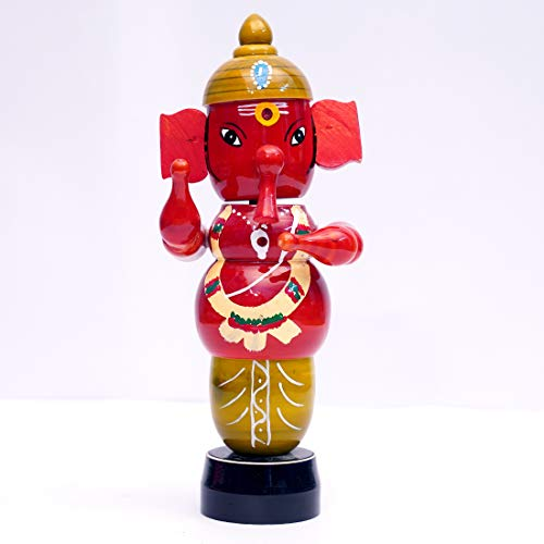ANDHRA HAND CRAFTS -KONDAPALLI Wooden Luck Ganesh REVOL Wing 9.5 INCHES Height