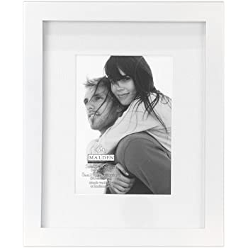 malden international designs matted linear classic wood picture frame 5x7 white