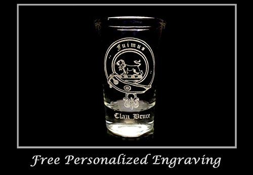 Bruce Scottish Family Clan Crest Shot Glass 2oz - Free Personalized Engraving, Celtic Decor, Scottish (Scottish Clan Coat Arms)