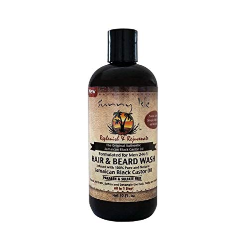 Sunny Isle Jamaican Black Castor Oil 2 in 1 Hair & Beard Wash for Men, Black, 12 Fluid ()