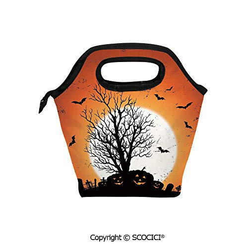 Reusable Printed Design Lunch Bag Grunge Halloween Image with Eerie Atmosphere Graveyard Bats Pumpkins Lunch Tote bag for Work and School. ()