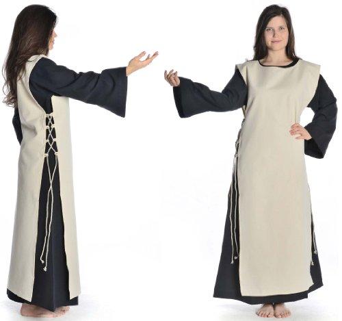 mit HEMAD Schwarz Beige Skapulier schwarz Baumwolle Mittelalter Damen mit Damenkleid S XL Kleid Leinenstruktur 6RwqRIx4r