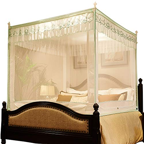 Mosquito Net Encrypted Three Open Doors, Square Top Zipper Princess Palace (Color : Green)