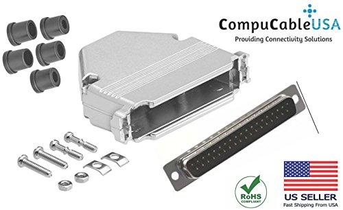 CompuCablePlusUSA.com Best DB37 male Solder Type Connector Kit With DB37 Metal Hood+Strain Relief Grommet Best Complete DB37 male Solder Type set Fix/Make/Assembly your own DB37 ()
