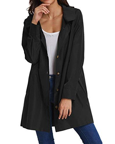 (Womens Long Sleeve Lightweight Waterproof Outdoor Hooded Raincoat KK822-1 3XL Black)
