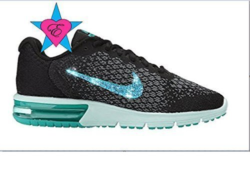 Custom Crystal Bedazzled Women Black Jade Nike Air Max Sequent 2 by Eshays