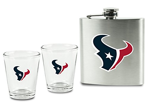 NFL Houston Texans Shot Glasses & Brushed Stainless Steel Flask Set