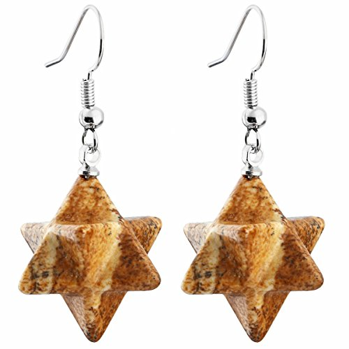 TUMBEELLUWA Merkaba Dangle Earrings for Women, Semi Precious Stone Healing Crystal Chakra Jewelry, Yellow Picture Jasper