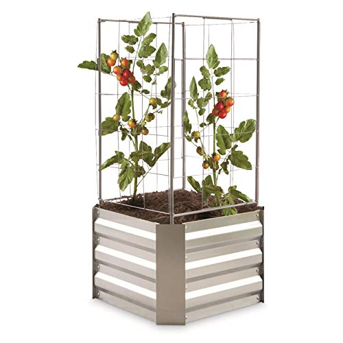 - CASTLECREEK Small Square Raised Galvanized Steel Planter Box with Trellis