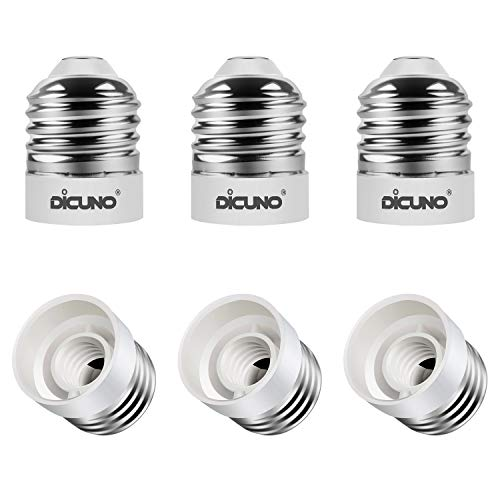 DiCUNO E26 to E12, Medium Screw Base to Candelabra Screw Base LED Light Bulb Converter, Maximum 200W, 250V and 165℃ Heat Resistant Reducer Adapter 6 Pcs, Environmental Friendly and Flame-retardant ()
