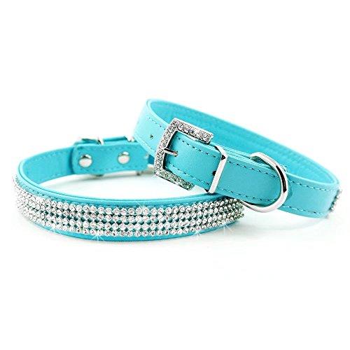 Didog Full Crystal Rhinestones Shining Diamonds PU Leather Dog Pet Collars for X-small Small Dogs