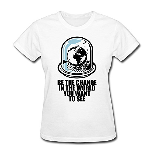 Vansty World Snow Globe Casual T Shirt For Female White Size M