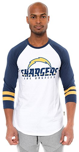 NFL Men's San Diego Chargers T-Shirt Raglan Baseball 3/4 Long Sleeve Tee Shirt, Large, (San Diego Chargers Clothing)