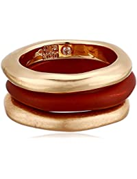 Women's Red Patina & Gold Sculptural Stackable Ring Set Size 8.5, One Size