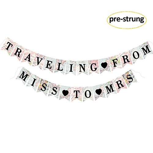 Traveling From Miss to Mrs Bridal Shower Banner, Bachelorette Party Decorations Supplies Kit for Bridal Shower, Bachelorette, Engagement and Wedding Party Decorations (Pre-strung)