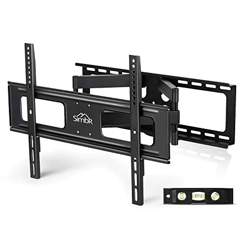 (SIMBR TV Wall Mount Bracket with Full Motion Double Articulating Arm for Most 32-70 Inches LED, LCD and Plasma TVs up to VESA 600x400mm and 110 LBS, with Tilt, Swivel,)