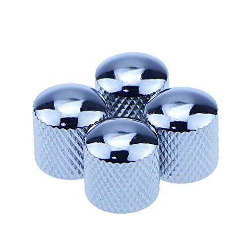 4pcs Silver Metal Dome Tone Knob for Electric Guitar Bass Parts (Electric Chrome Guitar)