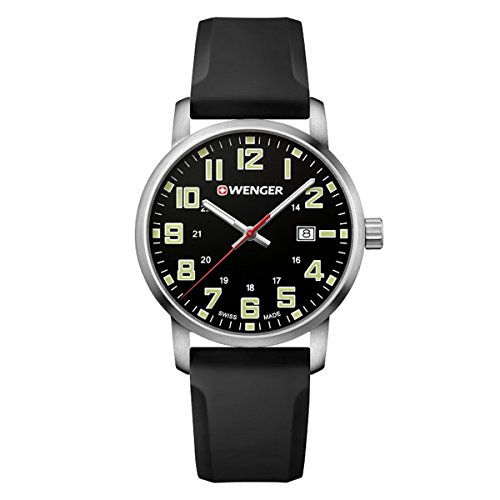 Wenger-011641110-Mens-Avenue-Black-Dial-Black-Silicone-Strap-Watch