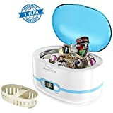 Ultrasonic Cleaner Professional Ultrasonic Jewelry Cleaners with Digital Timer for Jewellery Eyeglasses Lenses Necklaces Watches Rings Denture Coins, 20 Oz (Blue)