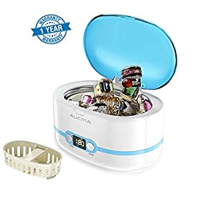 AUCMA Ultrasonic Cleaner 600ml Professional Ultrasonic Jewellery Cleaners with Digital Timer for Jewelry Eyeglasses Lenses Necklaces Watches Rings Denture Coins (0.6L)
