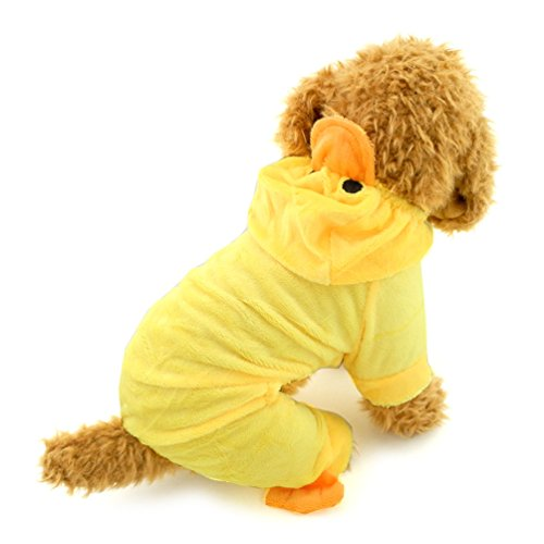 [SMALLLEE_LUCKY_STORE Pet Cat Dog Yellow Duck Hoodie Velvet Pajamas Jumper Small Dog Clothes Costumes] (Duck Costumes For Dog)