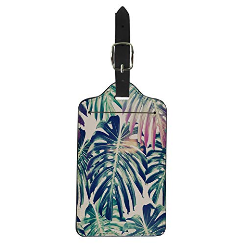 Aloha Shirt Island Decor - Semtomn Luggage Tag Green Leaf Tropical Jungle Leaves Monstera Floral Pattern Blue Suitcase Baggage Label Travel Tag Labels