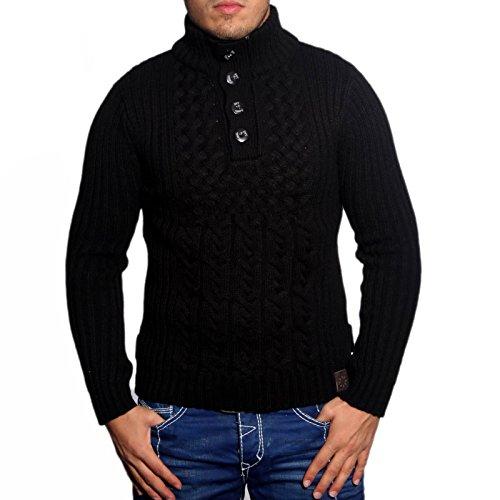 R-Neal 3161 Herren Pullover Grobstrick Polo Kragen Pulli Sweatshirt Jacke Hoodie, Größe:L, Farbe:Schwarz