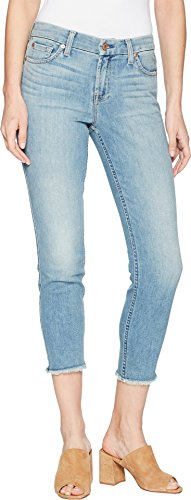 Seven 7 Jeans Crop Jean - 7 For All Mankind Women's Kimmie Crop w/Frayed Hem in Desert Heights Desert Heights 30 26