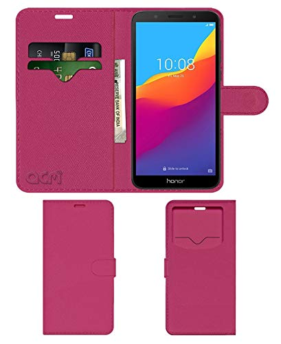 Acm Leather Window Flip Wallet Front  amp; Back Case Compatible with Honor 7s Mobile Cover Pink