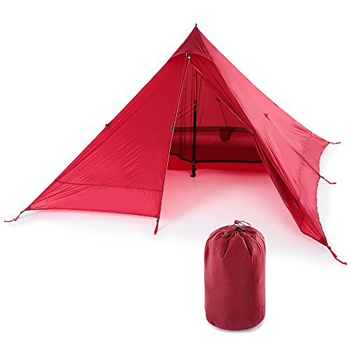 Lixada Ultralight 2 Person Tent Portable Backpacking Tent Double-Side Silicone Coating Water-resistant Outdoor Camping Tent Tarp Sun Shelter Awning(+ 73″ 24″ Camping Cot,Optional) For Sale