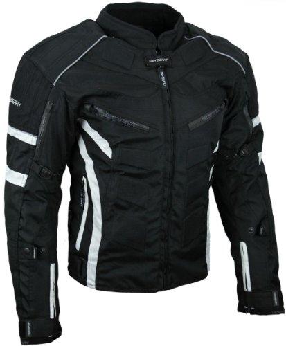 Kurze Textil Motorrad Jacke Motorradjacke Schwarz Weiß Gr. M