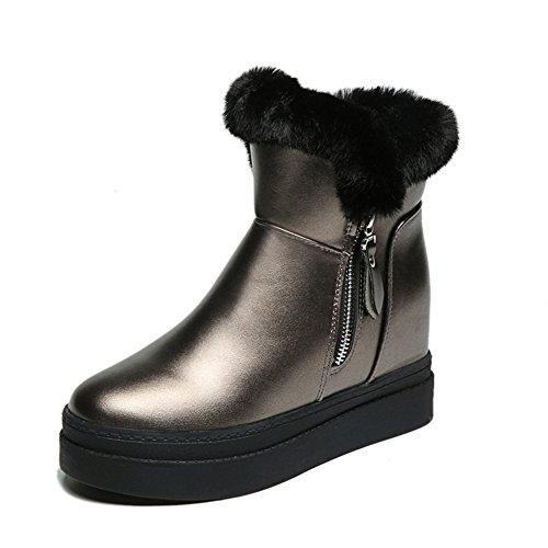 Gun Boots Fur Short Btrada Lined Wedge Women's Snow Waterproof Increasing color Tassel Winter Hidden Fluffy Bootie CCFz6wxtq