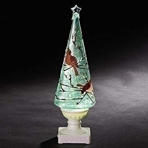 Roman 13.25'' White and Red Decorative Cardinal Printed LED Painted Swirl Tree by Roman