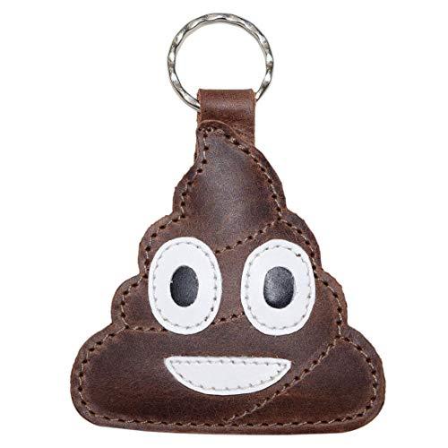 Hide & Drink, Poop Emoji Leather Keychain/Key Ring/Holder/Cute Gifts/Accessories, Handmade Includes 101 Year Warranty :: Bourbon Brown -