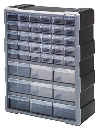 Quantum Storage Systems PDC-39BK Clear Plastic Drawer Cabinet, 39 Drawers from Quantum Storage Systems