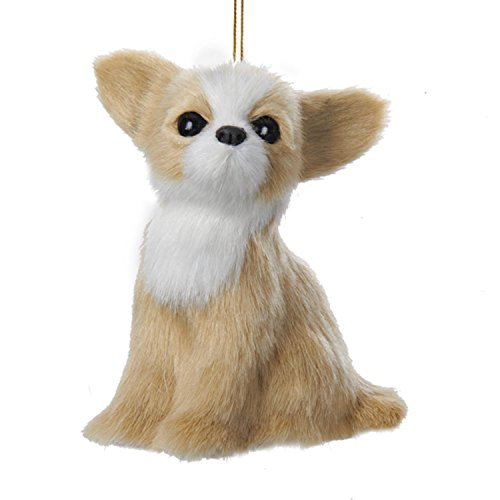 KSA Sandy Tan and White Plush Chihuahua Puppy Dog Christmas Ornament 4