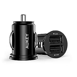 Aukey Mini - Cargador para el coche (2 x USB, 4.8 A) color negro