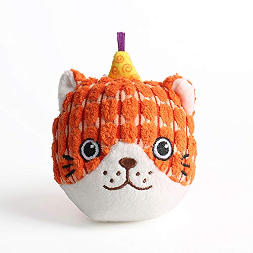 AXEN Round Face Series Dog Toys, Cat Shape, Cute and Squeaky, Orange Cat
