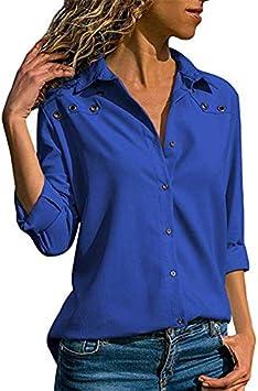 LFMDSY Mujeres Tops Blusas Primavera Elegante Blusa Manga Larga Pura Camisa Turn Down Collar Blusa Gasa Camisas Oficina: Amazon.es: Deportes y aire libre
