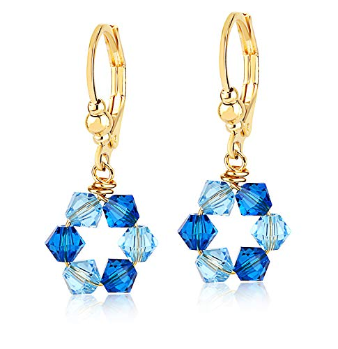 Swarovski Blue Crystal Dangle Earrings -24K Gold Coated - By Clecceli