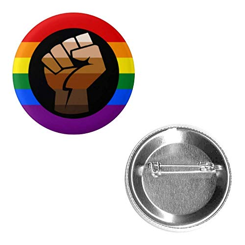 QPOC Equality LGBTQ Rainbow People of Color PoC Pride Flag Pin 2.25 Round Circle Shape Metal Button Pin Badge Pinback 2.25 inch Pin 57 mm 5.7 cm Black Power Black Lives Matter BLM